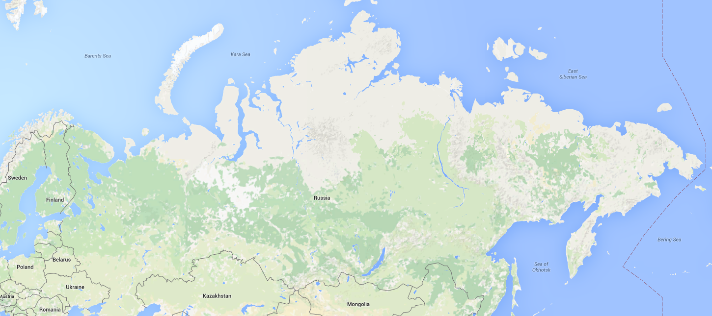 Russia via Google Maps