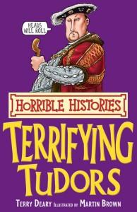 Horrible Histories: Terrifying Tudors, a 1998 children's book depicting Henry VII holding a bitten turkey leg.