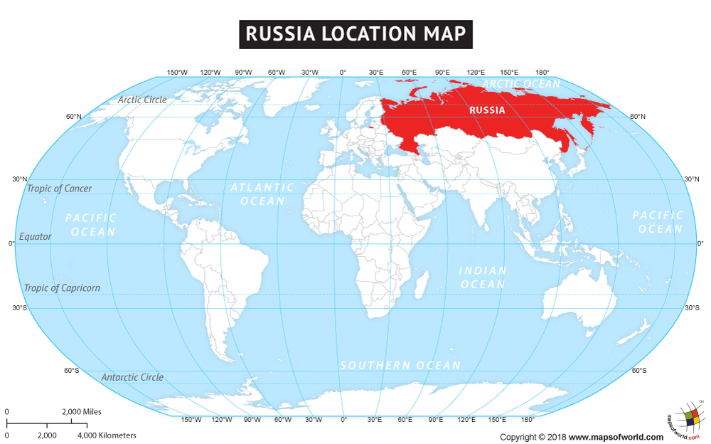 Russia Using a Pseudocylindrical Map Projection